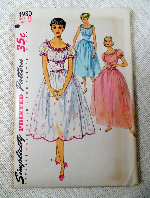 Vintage Simplicity 4980 1950s nightgown pattern Bust 30 shelf bust tie shoulder fitted waist Full skirt Grecian peasant dress