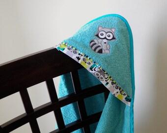raccoon hooded towel gender neutral shower gift birthday gift