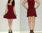 RESERVED for Deborah65 - 724 XS S Vtg 80s Josta Burgundy Babydoll Dolly Skater Fit and Flare Lolita Dolly Mini Dress