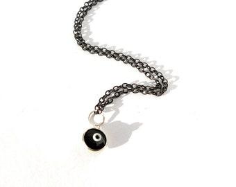 SALE. Evil Eye pendant. Black silver chain. 18 inch necklace.