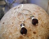 Elegant Faceted Ruby Red Smokey Quartz Sterling Silver Dangle Earrings