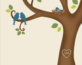 Baby Shower Tree - Family Tree-Printable JPEG - Digital Signature Tree with baby bird in the nest - Custom color, size, text