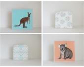 geometric art for nursery - 4 set-5x5 art blocks- orange nursery wall art- kangaroo nursery-kid room decor