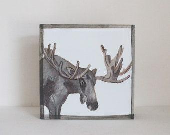 woodland nursery art, forest decor, moose art for a nursery- art block- kids room decor in blue- redtilestudio- wall art, animal print
