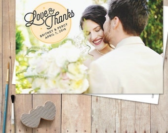 Wedding Photo Thank You Cards, Thank You Postcards, Thank You Magnets, Wedding Cards, Rustic wedding thank you - Lovely Circle