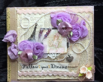Vintage Paris inspired journal book follow your dreams pink lavender cream with Eiffel Tower and hat pins