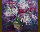 Original Modern Flower Lilac Textured Palette Knife Oil Painting Contemporary Floral Art 16X16 by Willson Lau