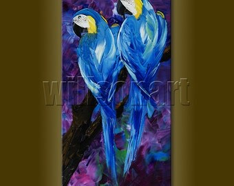 Parrot Modern Animal Oil Painting Textured Palette Knife Contemporary Original Art 12X24 by Willson Lau