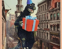 Birthday Card, b movie poster, Birthday Cards, Vintage, Monster art, Godzilla, Retro Card, Birthday, alternate histories, geekery
