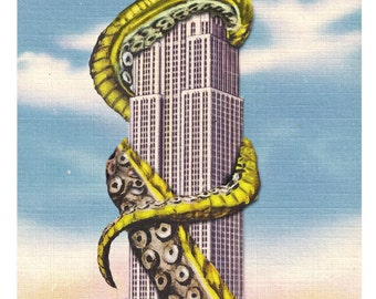 Digital Print, New York City, Octopus Tentacles, Empire State, Cthulhu, Giant Squid, New York, tentacle, Geekery, Alternate Histories