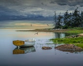 Sunset with Wood Row Boat and Gulls near Mount Desert Island in Maine No.182 - A Seascape Boat Photograph