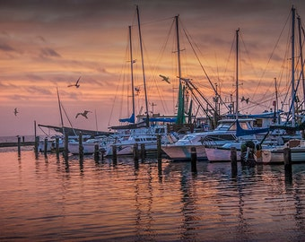 Boats in the Harbor at Sunrise at Aransas Pass in Texas on the Gulf of Mexico No.0562 A Fine Art Nautical Seascape Photograph