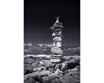 Cairn Pile of Stacked Stones on the Lake Michigan Beach by Charlevoix Michigan A Black and White Fine Art Seascape Photograph