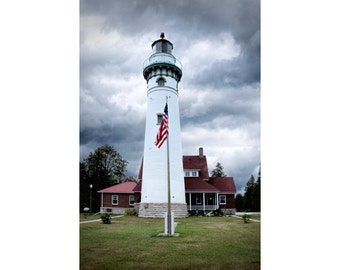 Seul Choix Point Lighthouse with American Flag by the North Lake Michigan Shore in Upper Peninsula Michigan No.1327 A Lighthouse Photograph