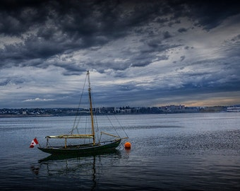 Sail Boat Anchored at Sunrise in Halifax Harbor in Nova Scotia Canada No.543 A Fine Art Nautical Boat Seascape Photograph