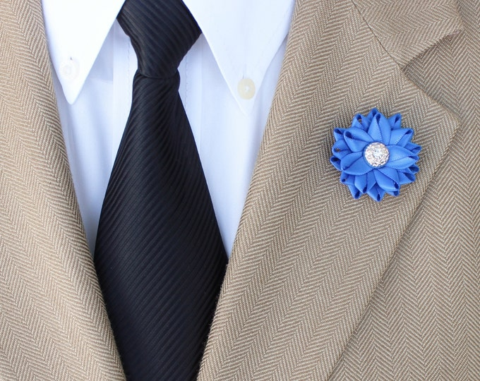 Small Lapel Flower, Mens Lapel Flower, Royal Blue Lapel Flower Pin, Mens Lapel Pin, Lapel Flowers for Men, Mens Fashion, Mens Accessories