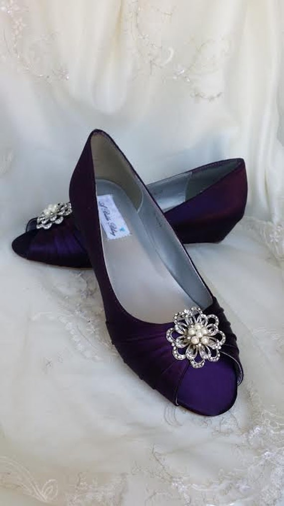 Wedding Shoes Eggplant Purple Wedge Bridal Wedges