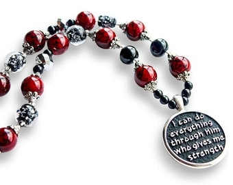 Red and Black Phil. 4:13 Scripture Christian Necklace