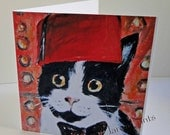 Doctor Who Cat Art Greeting Card From my Original Painting