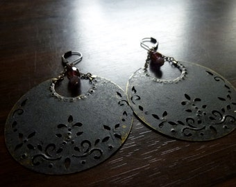 KINDRED - Antiqued Bronze Ebony Patina Cresent Moon with Cathedral Glass Beads Earrings