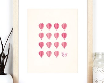 Hot Air Balloon Print 'Fly', Pink and Cream Art Print