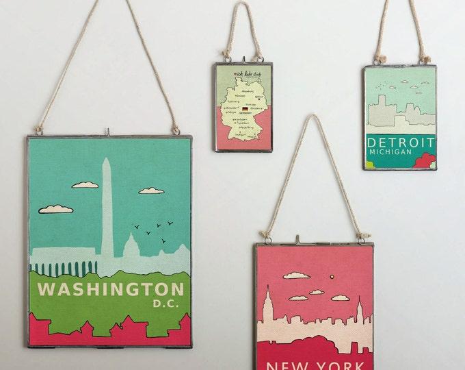 Washington D.C. in Pink // Travel Theme Nursery Decor, Nations Capital, Skyline, Typographic Print, Giclee, Digital