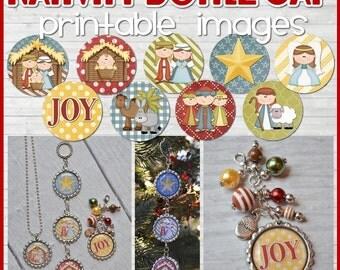 Mini-NATIVITY Christmas Bottle Cap Image Set - Printable Instant Download