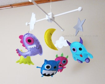 "Five Little Monsters Baby Mobile - Nursery Mobile -  Crib Felt crib Mobile - ""Monsters in the Night"" Mobile (Custom Color Available)"