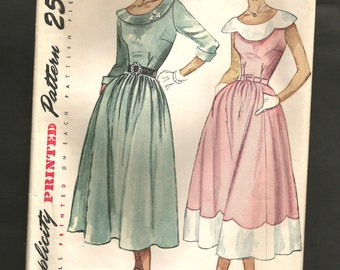 Vintage 1940s Simplicity 2865 Dress Pattern LOVELY Classic Mid Century Fitted Bodice Dirndl Skirt  Scallops Detail Collar & Skirt
