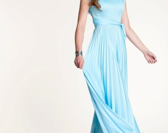 Vintage 60s 70s Dress Maxi Formal Pastel Blue Grecian Style Mint NWT Size 0/2  XS Prom