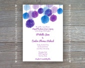 Wedding, Bridal Shower, Brunch, Birthday Party, Engagement Party Invitations-Pom Pom, Digital Printable File OR Professionally Printed Cards