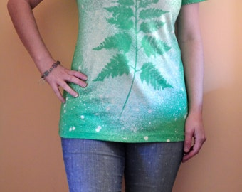 Botanical Shirt, Green Fern, Womens Tshirt, Nature Lover Gift, Hand Dyed Bleach Shirt - Short Sleeve Scoop Neck Tri Blend Tshirt