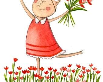 Springtime Piglet - Childrens Kids Wall Art Print -Spring, Red Yellow Pink Pig Tulips - Emily Burnette - Recipe 4 Cute