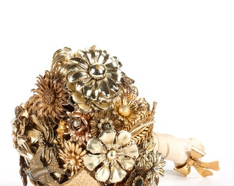 Heart Shaped Custom Brooch Bouquet - Handmade Medium Modern Domed Jewelry Bouquet - Silver, Crystal, Pearl, Gold   Neutral Classic Colors