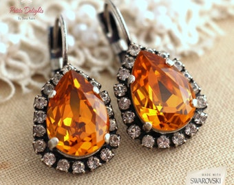 Topaz Drop earrings, Amber drop earrings, Swarovski Topaz Drop earrings, Silver Oxidized Crystal orange earrings, Halloween earrings.