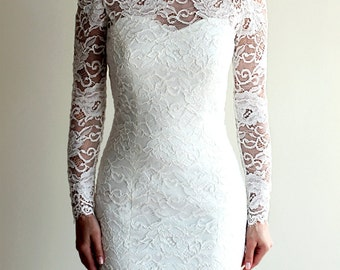 Short Wedding Dress with Sleeves and Illusion Neckline and Illusion Back, Reception Lace Dress, See-through Lace Dress