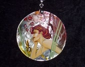 Handpainted mother of pearl Necklace Evening by A.Mucha ART NOUVEAU pendant