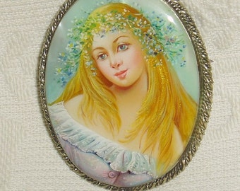 "Lacquer brooch Mother of pearl "" Girl in wreath "" Hand Painted Pin  miniature portrait"