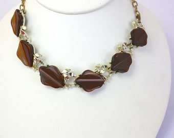 Vintage 50s Choker Necklace Brown Thermoset Plastic Flowers Gold Metal Link Necklace