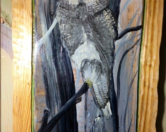 Gray Owl painting 4ft. One of a kind home decor centerpiece wooden wall art on reclaimed pine wood Wildlife artist Todd Lynd nature lovers