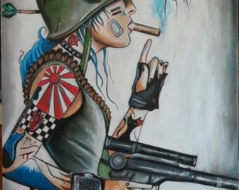"18"" x 24"" Tank Girl- Original Painting"