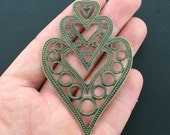 8 Huge Heart Charms Antique Bronze Tone Stacked Triple Hearts - BC1181