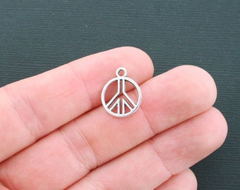 12 Peace Sign Charms Antique Silver Tone 2 Sided - SC4297