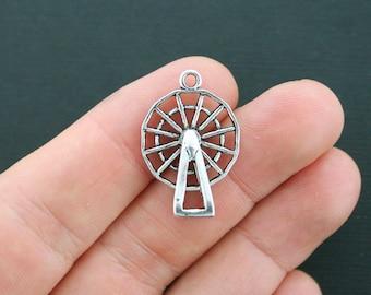 2 Ferris Wheel Charms Antique Silver Tone 3D - SC4345