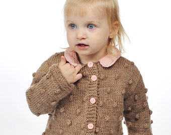Toddler Girl / Boy sweater jacket knitted cardigan brown beige wool pink Peter Pan collar bobbles winter warm popcorn knit 2T 3T 4T 5 6 7