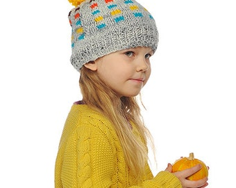 Baby Toddler Boy / Girl Hand Knitted Beanie Hat Grey with Orange Turquoise Blue Yellow Squares and Pom pom , 0-3-6-9-12-24 months 2-11 years