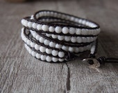 5 Wrap White White Jade Beaded Leather Wrap Bracelet 10486
