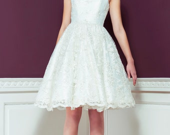 Lily - Beaded and Sequined Lace 1950's Style Strapless Wedding Dress