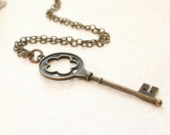 Skeleton Key Necklace Big Key Pendant Long Chain Vintage Style Jewelry Rustic Romantic Black Patina Gothic Victorian