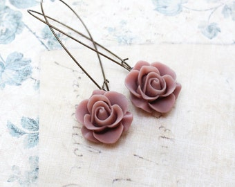Dusty Rose Pink Earrings, Vintage Style Dangle, Long Rose Earrings, Bridesmaids Gift, Country Chic Wedding, Floral Jewelry, Flower Earrings